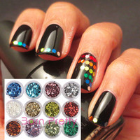 $6.85 12 Colors Nail Art Shiny Hexagonal Glitter Powder Sheets Tips Tool - BornPrettyStore.com