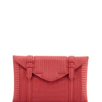Reece Hudson Bowery Oversized Croc-Embossed Clutch Bag, Raspberry