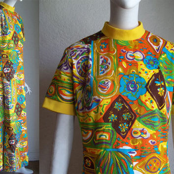 Vintage 70s RoVel Maxi Psychedelic Hippie Maxi Dress M 36