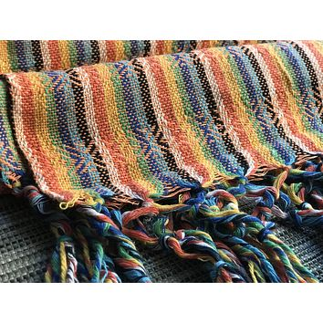 Mexican Rebozo Shawl - Bright Orange Rainbow