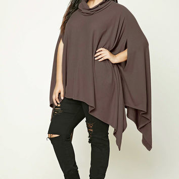 Plus Size Cowl Neck Poncho