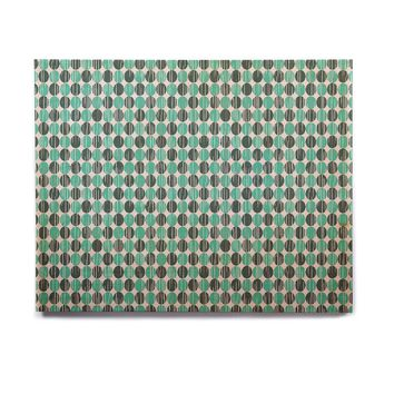 "Michelle Drew ""Distressed Circles"" Teal Aqua Birchwood Wall Art"