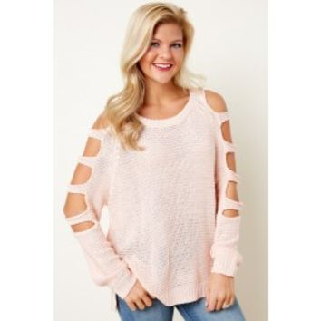Social Ladder Blush Pink Sweater