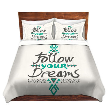 Follow Your Dreams Quote Bed Duvet Cover – For Twin, Queen and King Size Beds