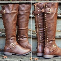 On Sale Hot Deal Flat Knee-length Ladies Hot Sale Rivet Boots [120847499289]