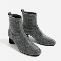 SHINY SOCK ANKLE BOOTS DETAILS