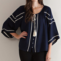 Button Down Peasant Blouse - Navy
