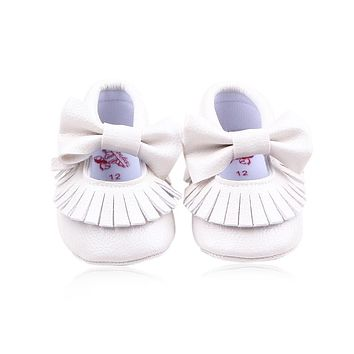 Newborn Candy Color Baby Girl Shoes Kids Soft Butterfly-knot PU Leather Moccasins Toddler Princess Baby First Walker