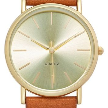 Junior Women's BP. Round Face Watch, 35mm - Brown Cognac