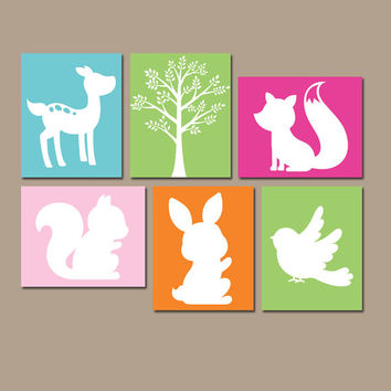Girl WOODLAND Wall Art, Forest Theme Decor, Baby Girl Nursery Artwork, Tree Bird Bunny Fox Deer, Set of 6 Canvas or Prints, Girl Playroom