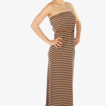 Strapless Striped Maxi Dress - Khaki
