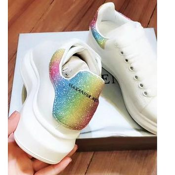 Alexander McQueen Trending Women Leather Sport Running Sneaker Shoes(Rainbow Color Tail)