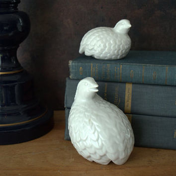 White Ceramic Birds, Glossy White Ceramic Quail, Modern Decorative Birds