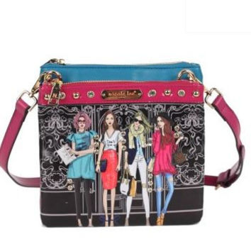 GIRLS WANT TO HAVE FUN PRINT CROSSBODY BAG