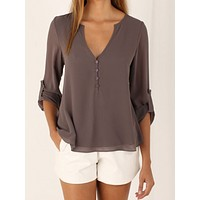 Loose V-Neck Long-Sleeved Chiffon Shirt