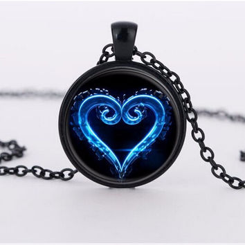 Kingdom Hearts Emblem Symbol glass Pendant Necklace 2015 charms necklaces choker pendants Jewelry FTC-N460