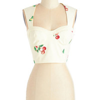 ModCloth Rockabilly Sleeveless Cropped Cherry Sweet of You Top