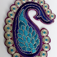 Paisely design embroidered patch, in teal, purple, red, golden colors, set of two, stick on, sew on, applique, embellishment