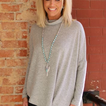 Better Together Poncho Style Tunic With Asymmetrical Hem ~ Heather Gray ~ Sizes 4-12