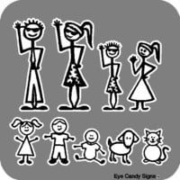 Stick People Family Car Decals Stickers Graphics Item #1(This decal is printed, not die cut)