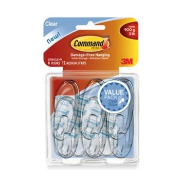 3M Removable Medium Clear Wall Hooks (6-Pack)