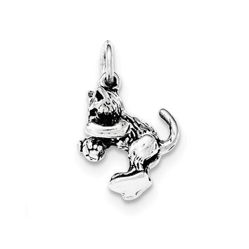 Sterling Silver Antiqued Cat Playing with Ball Pendant
