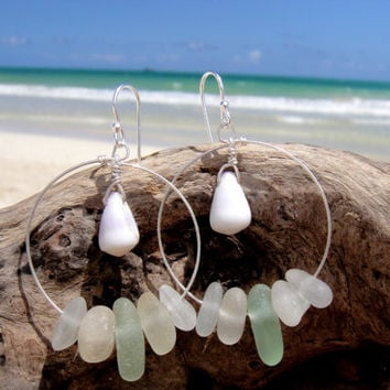 Hawaiian Cone Snail Shells with Aqua & Clear Beach Glass on 925 Sterling Silver Circular Wire Small Hoop Earrings