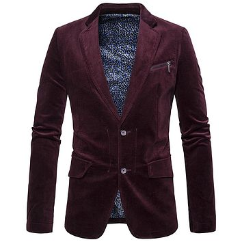 Newest High Quality2017Fashion Brand Casual Blazers Double Button Stylish Slim Corduroy Blazer Male Fashion Various Suit Jacket