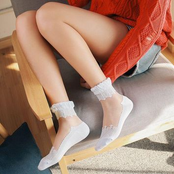 LIONZONE Kawaii Lace Ruffle Ankle Socks Women 2018 New Comfy Sheer Socks Cotton Silk Elastic Mesh Transparent Meias