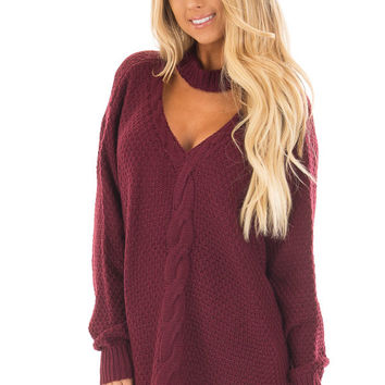 Burgundy Cable Knit V Neck Sweater with Choker Band