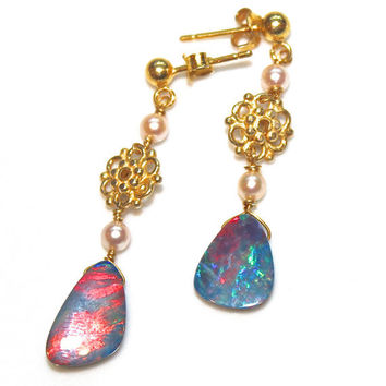 Australian Black Opal Earrings Doublet Gold Vermeil Freshwater Pearl Handcrafted Gemstone Jewelry