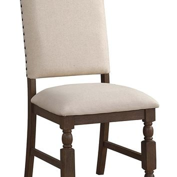 Wood & Fabric  Side Chair with nail head Trim, Set of 2, Beige and Brown