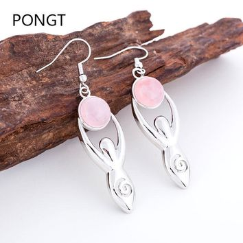 Natural stone earrings for women Quartz Round Bead Hollow Carve crystal earrings hanging Reiki Yoga poses meditation jewelry