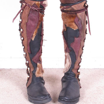 vintage 80s deer buffalo cowhide patchwork custom moccasins lace up tall knee high flat sole boots sz 9