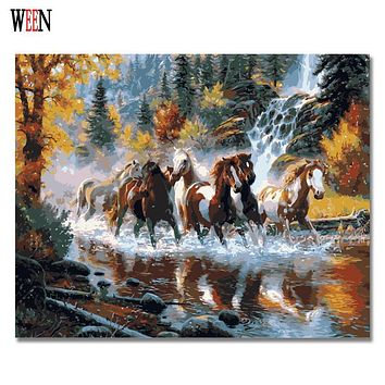 WEEN Horses Pictures By Numbers DIY Handpainted Wall Painting New Gift Coloring By Number Arts ON Canvas Painting For Home Decor