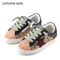 CCTWINS KIDS 2017 Toddler Baby Glittler Shoe Girl Star White Sneaker Boy Sport Shoe Ki