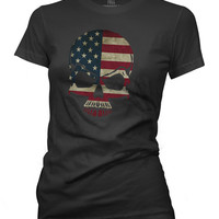 American Flag Skull Women's Crew Neck T-Shirt