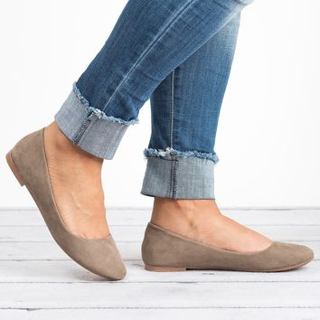 Classic Ballerina Flats - Taupe
