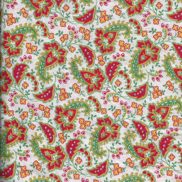 Vintage Cotton Quilting Fabric with Orange, Yellow, Green Paisley - BY the YARD. Circa 1960s