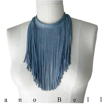 Fringe necklace, Stone Blue Leather Fringe Scarf  Necklace, Soft Blue Suede Fringe Choker, one in stock, discontinued