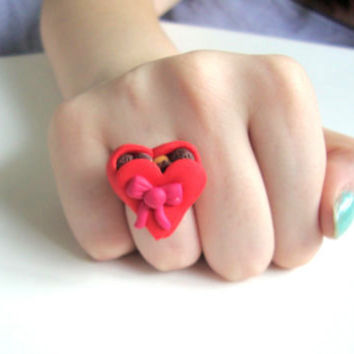 Heart-shaped box of chocolates adjustable ring (polymer clay), valentines day gift
