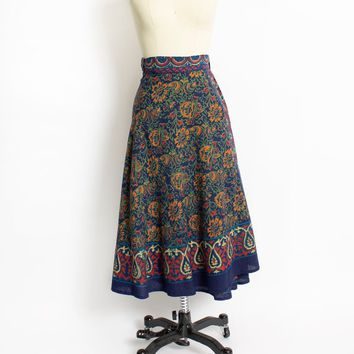 Vintage 1970s Wrap Skirt - INDIAN Cotton Screen Printed Hippie Boho Midi - Small / Medium