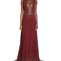Degrade Nailhead Studded Illusion Gown