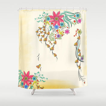 Shabby chic shower curtain, shower curtain vintage, rustic shower curtain, bathroom decor, bathroom shower curtains, fabric shower curtain