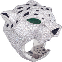 Panthère de Cartier ring: Ring - white gold, pear-shaped emerald eyes, onyx, brilliant-cut diamonds.