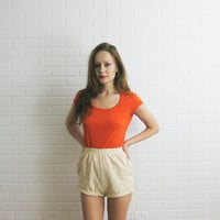 90s Orange Cotton T Shirt Size Small XS