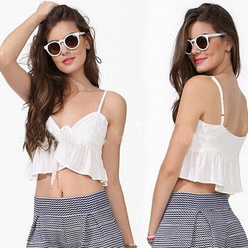 Summer Style Top White Ruffles Tie Front Crop Tops Women Bustier Crop Top Cropped T-shirt Women Camisetas Women Clothing 2015 = 5613034049