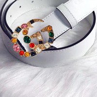 Gucci Fashion Women Belt Multicolor Diamond Belt Multicolor agate White