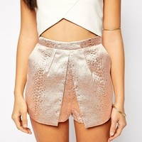 Fashion Union Structured Shorts In Metallic Texture