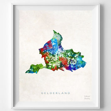 Gelderland, Map, Netherlands, Print, Watercolor, Dutch, Europe, Home Town, Poster, Gift, Country, Decor, Painting, Bedroom, World [NO 1251]